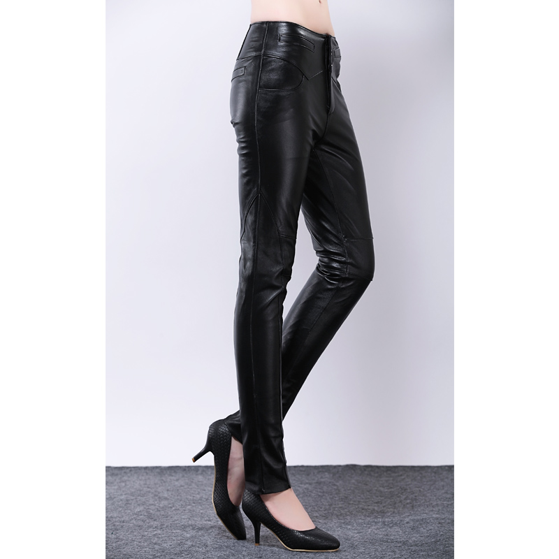 Spring And Autumn Women's Genuine Leather Pants Skinny ...