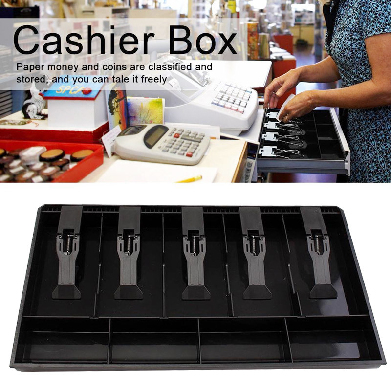 5 Grid Money Cash Coin Register Insert Tray Replacement Cashier Drawer Storage Cash Register Tray Box Classify Store