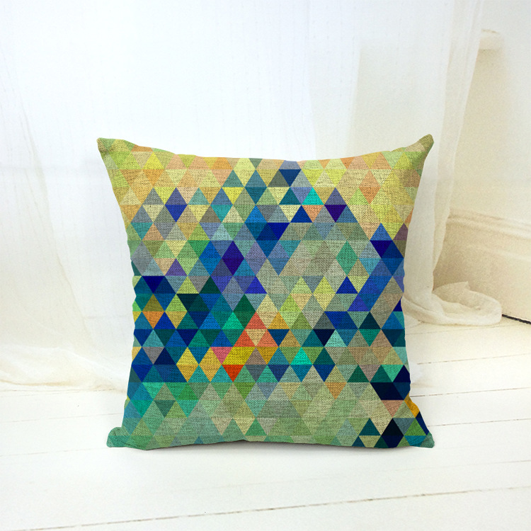 European Style Cotton Pillow Case Cushion Cover Pillow Cover Square Geometric Figure Pillow Case F