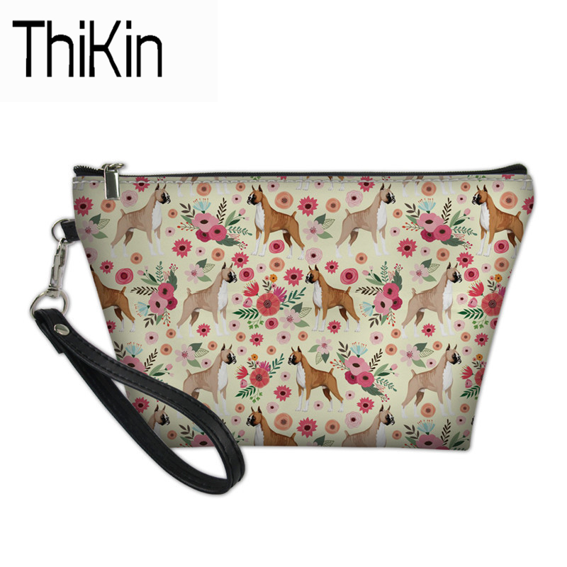 THIKIN Cosmetic Bags & Cases Women Functional Bag for Girls Boxer Dog Print Makeup Pouch Cosmetic Case Casual Cosmetic Bag New