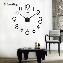 M.Sparkling 3D round wall clock modern brief design bedroom DIY clocks self adhesive mute creative home decoration