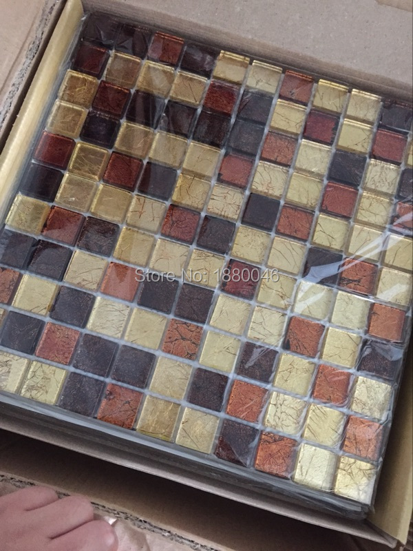 High Quality Gold Foil Crystal Glass Mosaic Tiles for wall for bathroom shower swimming pool DIY decorate 11pcs size 30*30cm