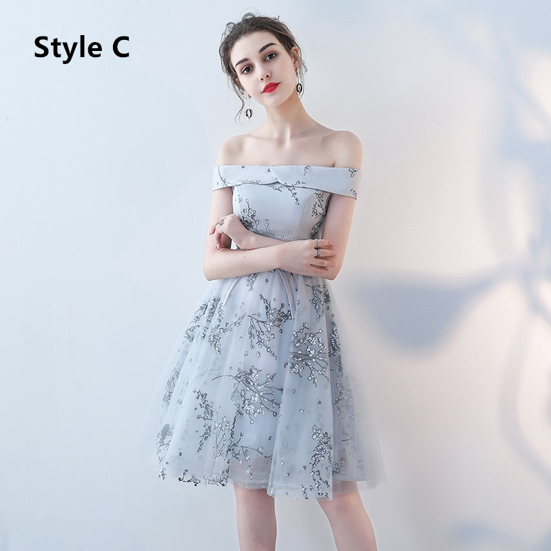 Flower Pattern Sashes Lace Knee Length Bridesmaid Dress 5
