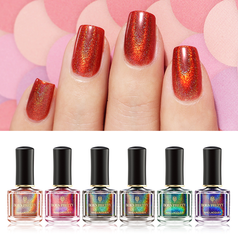 Born Pretty 6ml Holographic Series Nail Polish Laser Glitter Chrome Varnish Black Red Lacquer Manicure Art Vernis Primer In From Beauty