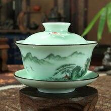 [GRANDNESS] набор фарфоровых чайных чашек Longquan Gaiwan ручная роспись цветочный Sancai чайный стакан 170 мл
