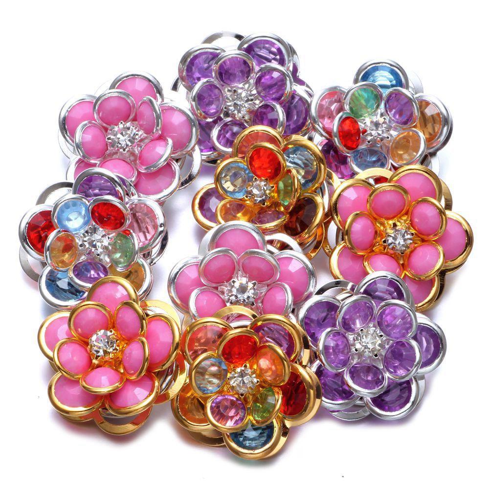 6pcs/Lot Metal Flower Pattern Multi Color Metal Charms 18mm Snap Button Jewelry For 18mm Snaps Bracelet Snap Jewlery KZHM022