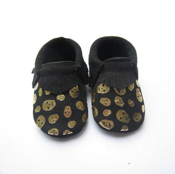Мода Черный Череп Из Натуральной Кожи Детские Мокасины Обувь Новорожденных Девочек Мальчиков Обувь Новорожденные Первые Ходунки малышей Bebe Обувь
