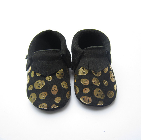 Fashion Black Skull Genuine Leather Baby Moccasins Shoes Baby Girls Boys Shoes Newborn First Walkers toddler Bebe Shoes
