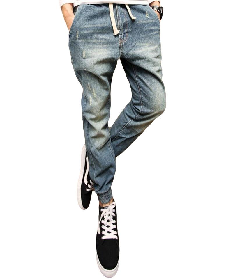 Classic Menu0026#39;s Denim Pant Drawstring Blue Black Slim Fit Mens Joggers Plus Size S 3XL Long ...