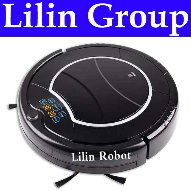 (Free to Russia) Robot Vacuum Cleaner, Two Side Brushes,LED Touch Screen.with Tone,HEPA Filter,Schedule,Virtual Wall,Self Charge