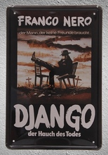 1 piece Franco Nero Django Western der hauch todes movie Tin Plate Sign wall man cave Decoration Art Poster metal vintage home