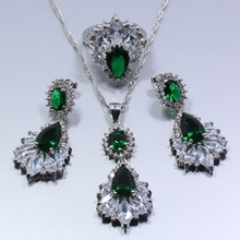 Sterling Silver Jewerly Set with Simulated Emerald Stones