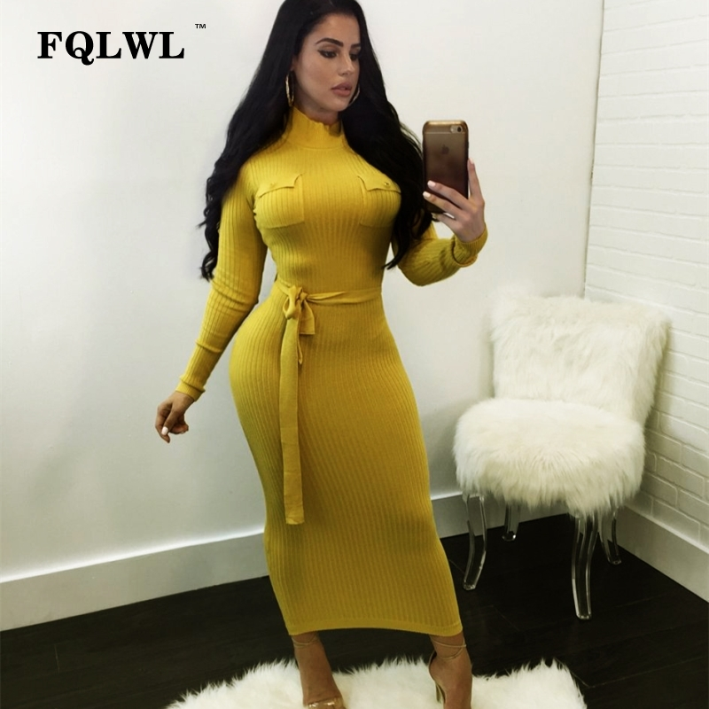 7fd29fa43c9f FQLWL Bandage Knitted Sweater Dress Women Turtleneck Ribbed Long Sleeve  Maxi Dress Sashes Spring Ladies Casual
