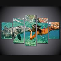 Sale Wall Pictures For Living Room Unframed Canvas Painting On The Wall Vintage Wall Art Dolphin