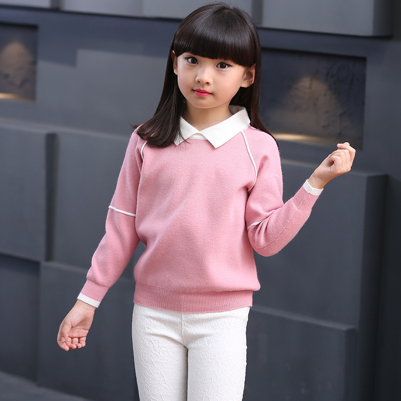 Teenage Girls Sweaters Kids Turn Down Collar Sweater For Girls Spring Autumn Girls Long Sleeve Knitted Clothes 6 8 10 12 Year girls shirts long sleeve button cotton turn down collar letter plaid shirts for kids girls autumn clothes size 9 10 11 12 13 14y