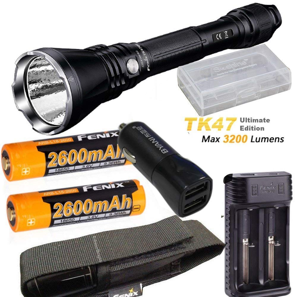 Fenix TK47 UE Ultimate Edition 3200 Lumen LED Tactical Flashlight with ARB-L18-2600 battery, ARE-X2 charger, car charger
