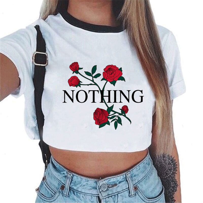 Summer fashion Harajuku Sexy tank Crop Top White T Shirt Clothes Women Cute mouse printed Croptop