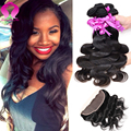 7A Grade Brazilian Virgin Hair Body Wave 3pcs With Frontal Brazilian BodyWave Hair Weaves Unprocessed Human Hair Weave Extension