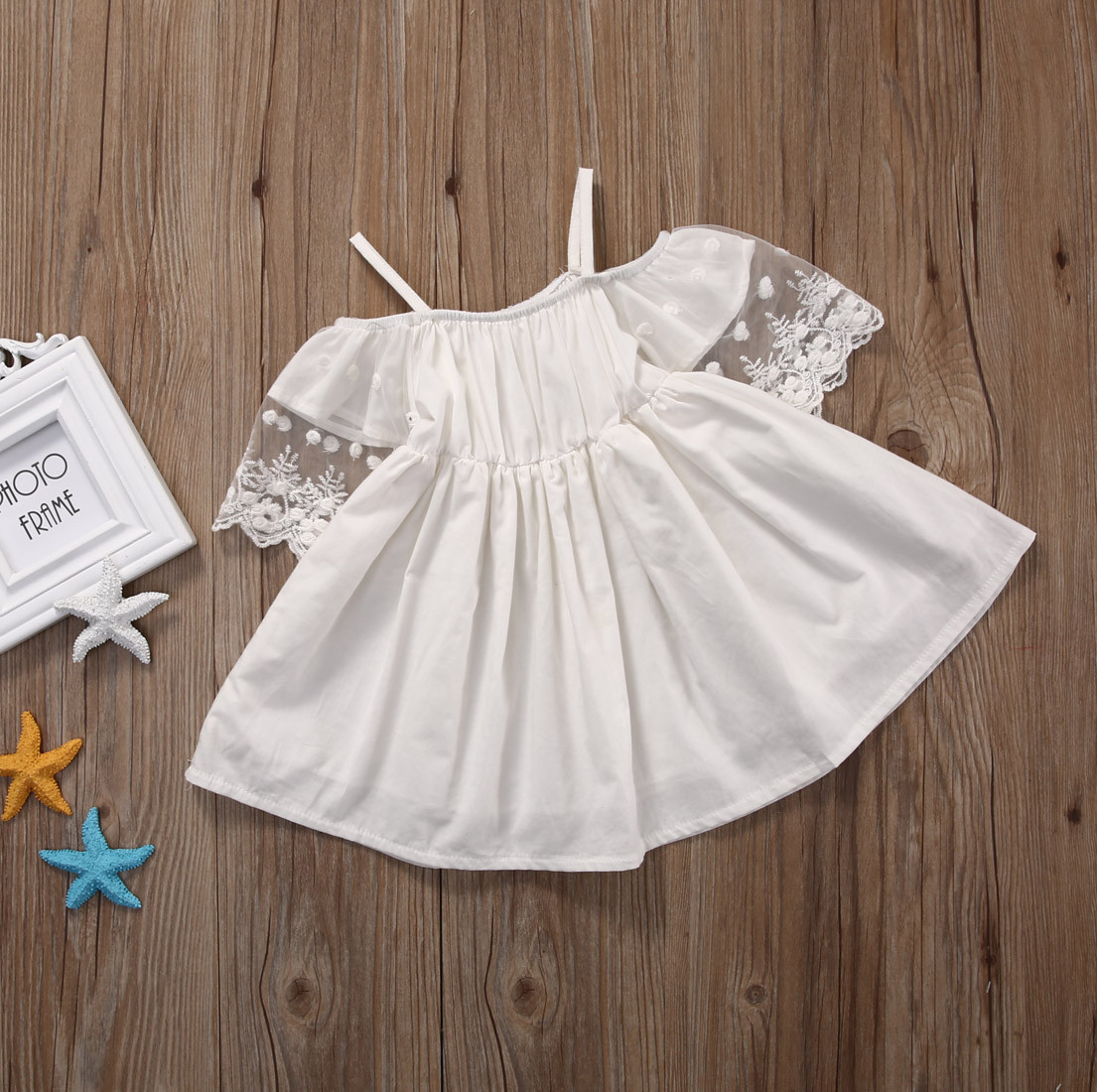 Lace Girl Clothing Princess Dress Kid Baby Party Wedding Pageant Formal Mini Cute White Dresses Clothes Baby Girls 9