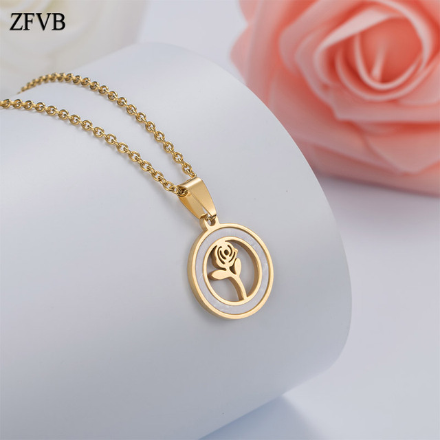 8f4576d84 ZFVB Fashion Women Rose Pendant Necklaces 316L Stainless Steel Gold Color  Shell Plant Pendants Female Necklace Jewelry Gift
