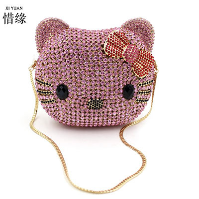 XIYUAN BRAND 2017 luxury European and American Style full Diamond Banquet evening cat bag Bride Wedding Party Purse Chain Bolso
