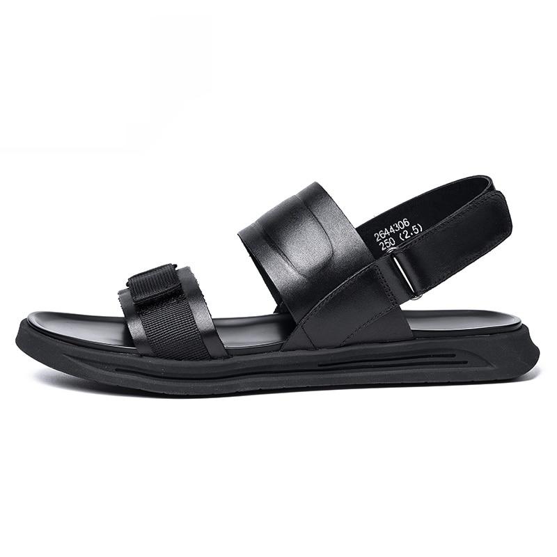 De Verão Homens Superior Design Preto Sandálias Respirável Do Qualidade Dos Da Genuíno Black Minimalista Praia Mycolen Sapatas Com Couro qw00XtP4