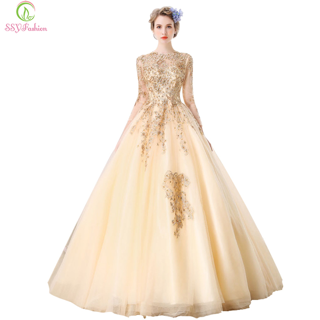 9b8713c5b2ef Clearance SSYFashion Champagne Gold Lace Evening Dress Bride Banquet  Elegant 3 4 Sleeve Embroidery Party Prom Dress