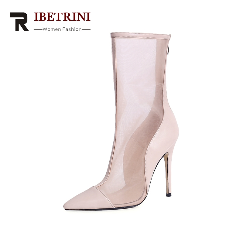RIBETRINI 2018 High Quality Zip Up Pointed Toe Thin High Heels Woman Summer Boots mid-calf Women Shoes Boots Size 34-39 trusify 2017 ohappropriate cow leather mid calf zip pointed toe high thin heels solid buckle fashion womens boots with heels