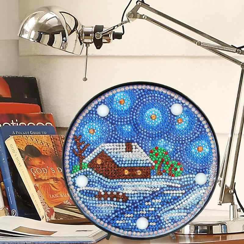 DIY Diamond Painting Full Drill Special Shaped LED Night Lamp for Bedroom Decoration Christmas Gifts