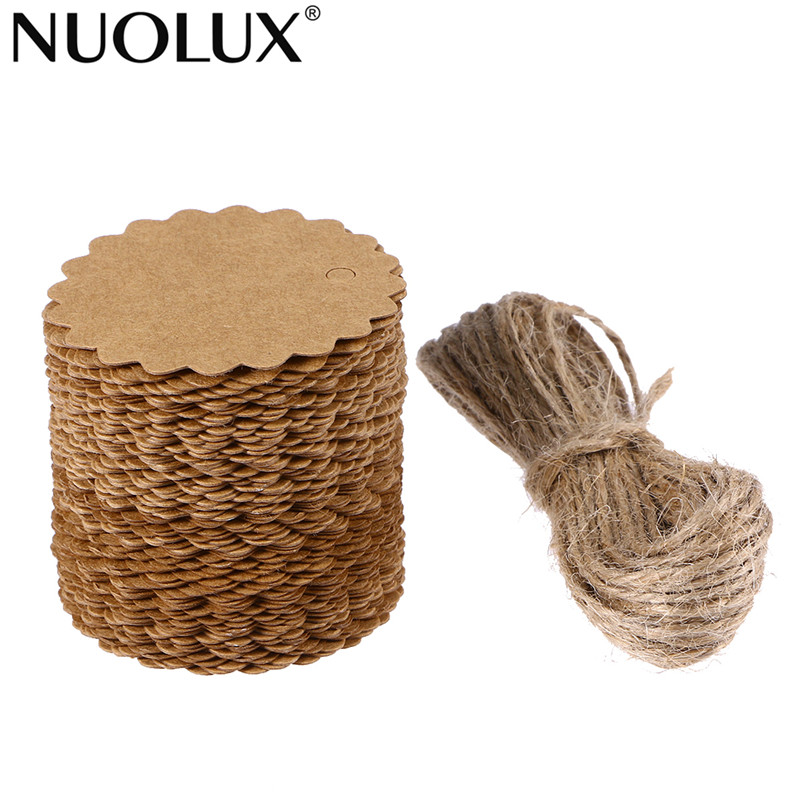 100pcs 60mm Round Scalloped Kraft Paper Card / Gift Tag / DIY Tag / Luggage Tag / Price Label with 10M Jute Twine