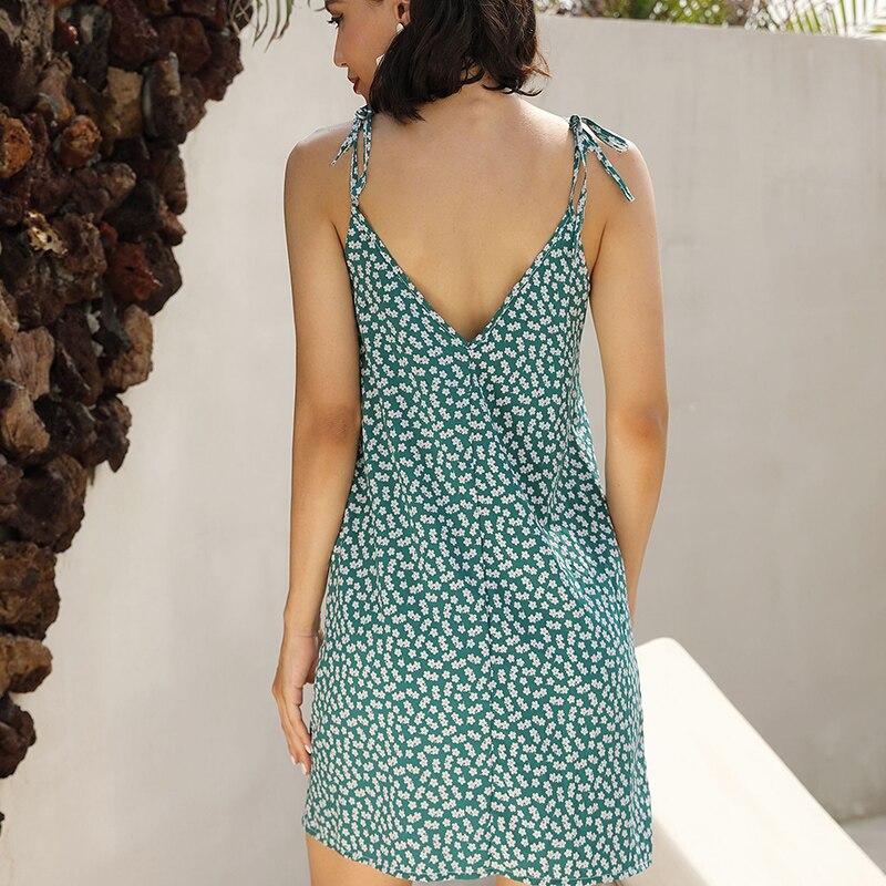 new women green summer dress 2019 spaghetti strap full of dot pattern v neck sleeveless female dress beach mini dresses 81972 in Dresses from Women 39 s Clothing
