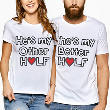 Fashion Couple T Shirt For Lovers Shoer Sleeve Creative Letter Print T-Shirt Women 2019 Summer Tops Tees Shirts Clothes