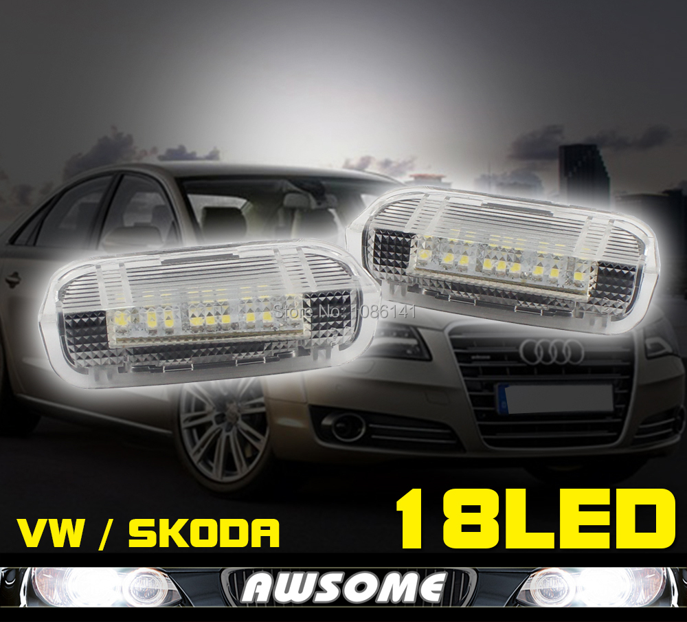 2x LED Step Door Footwell Courtesy Light White For VW GOLF5 GOLF6 PASSAT EOS JETTA TIGUAN FOR SKODA SUPERB SEAT ALHAMBRA