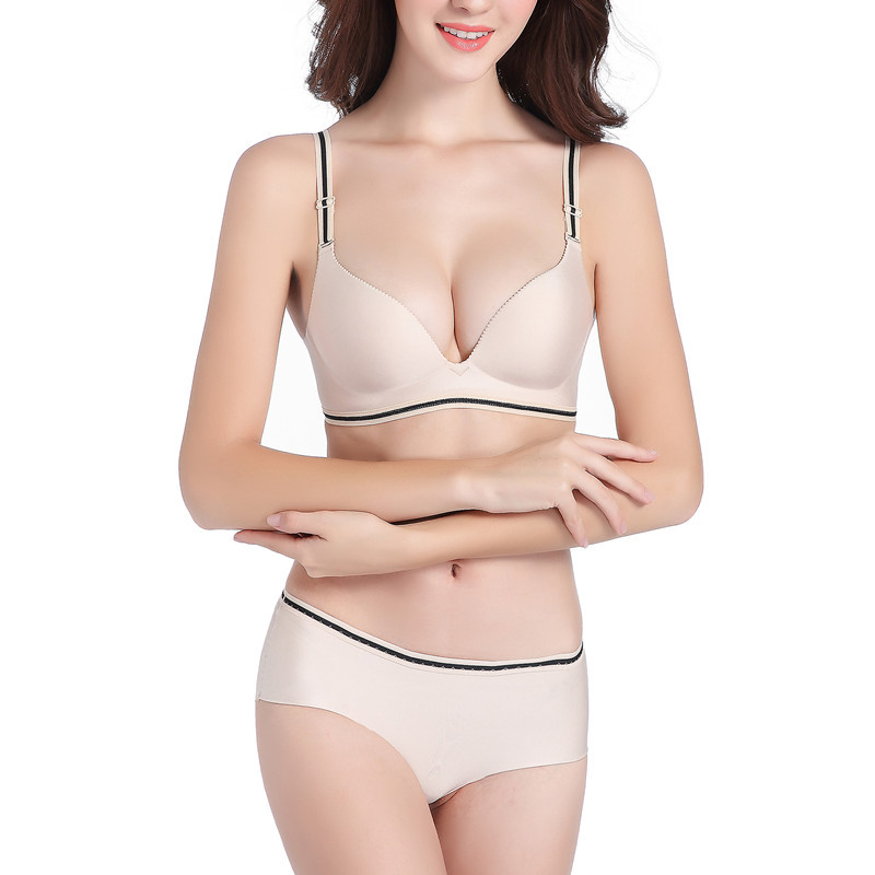 d5d39746a2 Smooth Surface Solid Color Sexy Push Up Bra Set Seamless One-piece Upper  Thin Lower Cup Wire Free Lingerie Underwear Women
