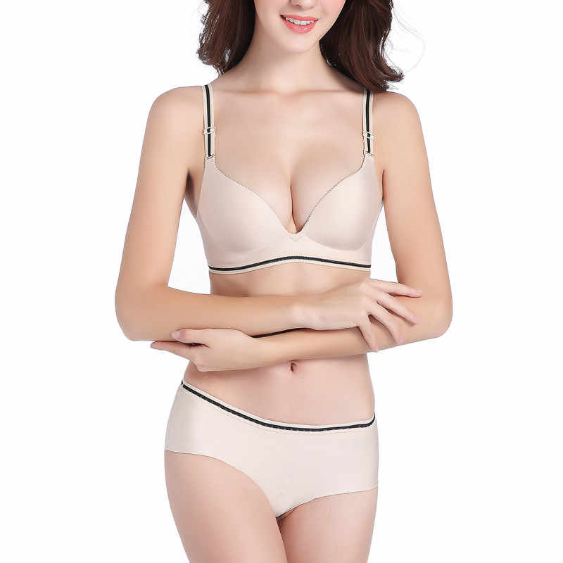 5a27ee6c0c2 ... Smooth Surface Solid Color Sexy Push Up Bra Set Seamless One-piece  Upper Thin Lower ...