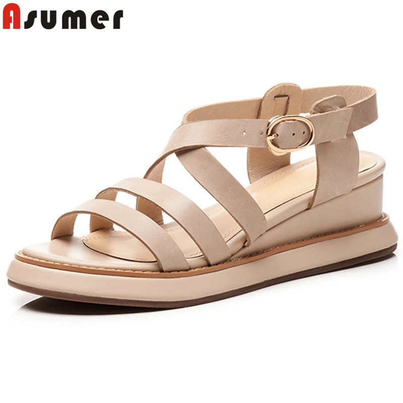 ASUMER 2019 new genuine leather shoes women casual wedges sandals buckle ladies shoes platform women sandals