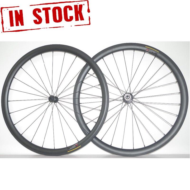 PRO CERAMIC BEARINGS 38mm x 25mm U Shape 700c Tubular Carbon Road Bicycle Wheels Bike Wheelset UD MATTE 20/24 Holes