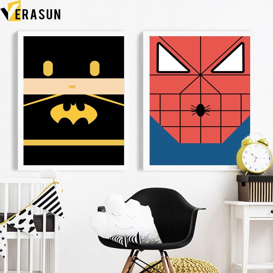 ⊹VERASUN Spider-Man Batman Superhero Posters y impresiones lona ...