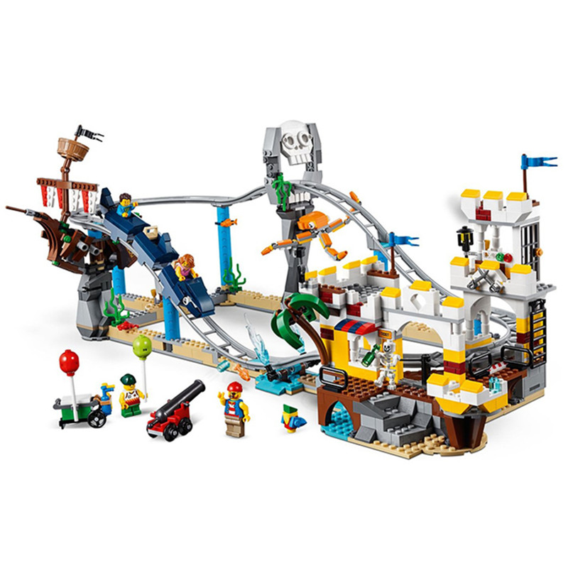 Creator 3in1 Pirate Roller Coaster Building Blocks Kit Bricks Set Classic Model City Toys For Children Gift Compatible Legoe lepin creator 3in1 modular modern home building blocks bricks kits kids classic city model toys for children compatible legoe