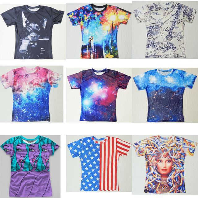 Mujeres hombres 3D la firmamento espacio exterior camiseta galaxia nebulosa púrpura camiseta de verano TEE las barras y estrellas ee.uu. bandera de la camiseta camisetas tops