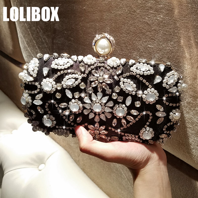 LOLIBOX Women Evening Clutch Bag Cat's Eye Diamond Flower Pearl Chain Shoulder Bags Ladies Party Day Clutches Purse And Handbags excelsior new arrival day clutches bag purse clutch handbags shiny ultrathin women evening party bags gold sequins envelope bag