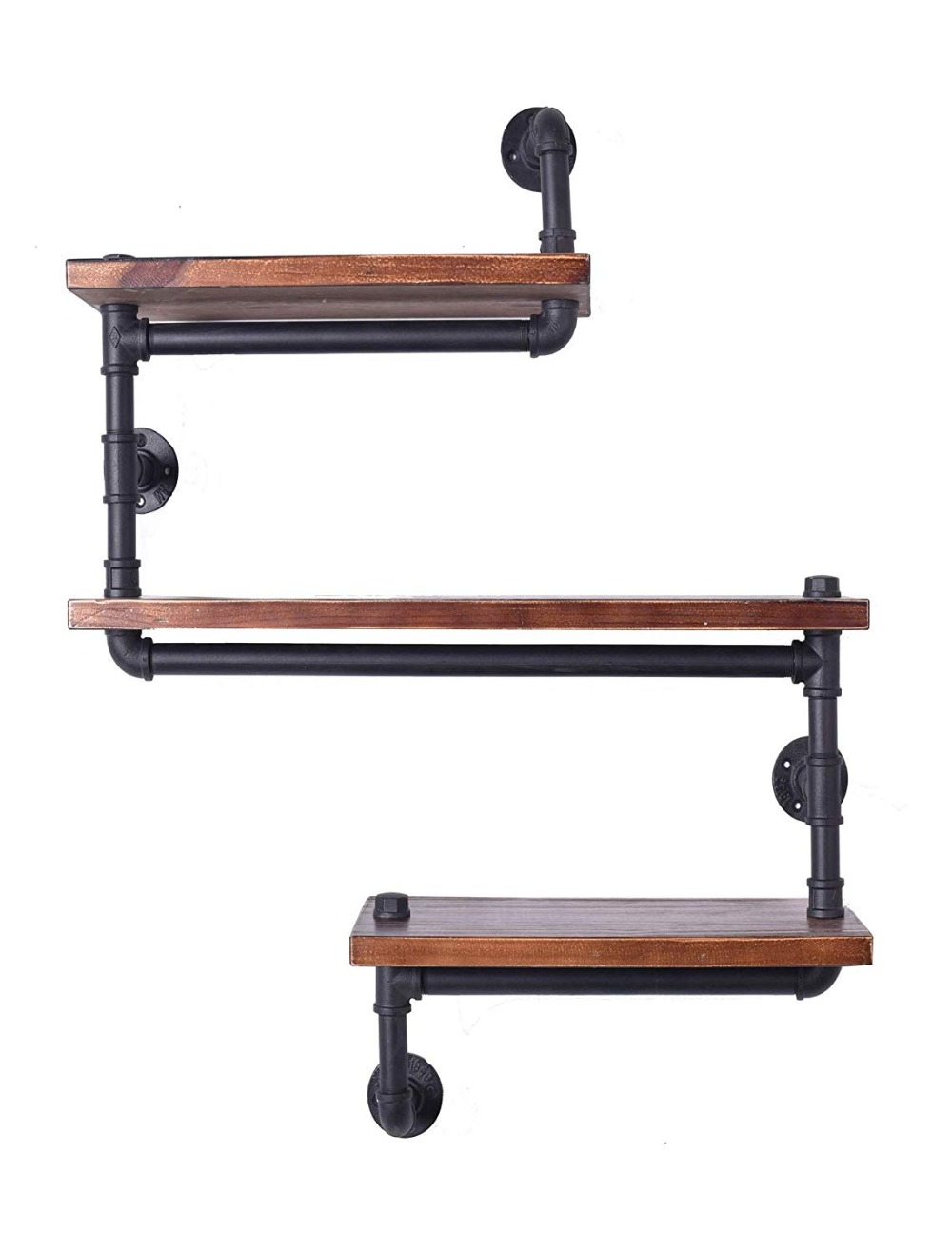 Floating Wall Shelves Industrial Rustic Iron Pipe Shelf 3 Tiers Wooden Board Restaurant Kitchen Bathroom Decorative Wall Shelf
