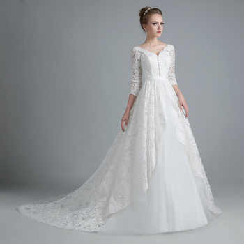 E JUE SHUNG White Vintage Lace Ball Gown Wedding Dresses Lace Up Back 3/4 Sleeves Wedding Gowns robe de mariage