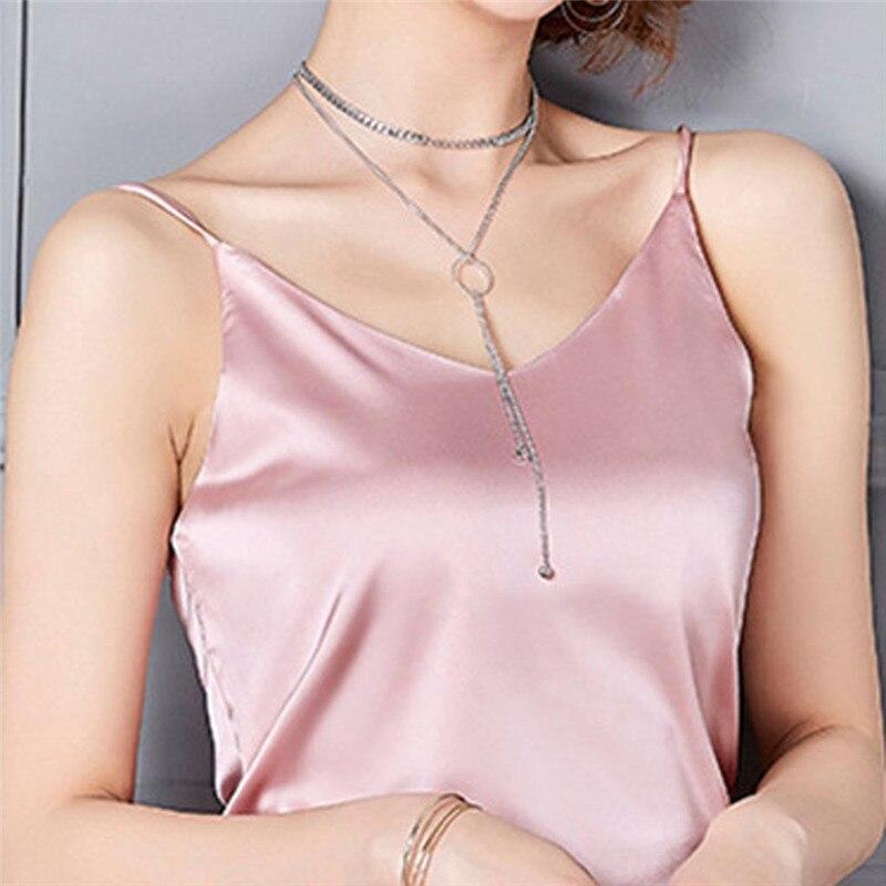 Summer   Tops   Women Sexy Silk Ladies Camisole Bottom Shirt V-neck Cropped Feminino Female T-shirt Soft Satin   Tank     Top   Crop W3
