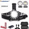 XHP50/XP-L-V6 LED Scheinwerfer 30000LM Leistungsstarke Scheinwerfer Zoombare Scheinwerfer Einstellbare Scheinwerfer Helle Kopf Taschenlampe für Camping