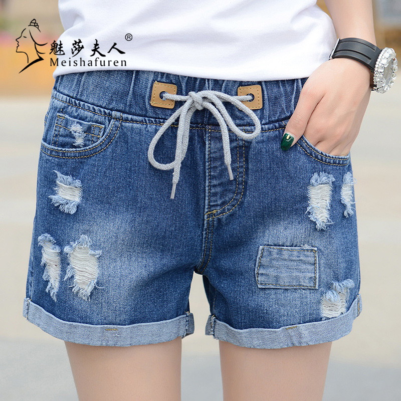 New Fashion 2020 Spring And Summer Casual Mid-Waist Shorts Women Denim Shorts Elastic Waist Jeans Flanging Hot Shorts Feet K3C
