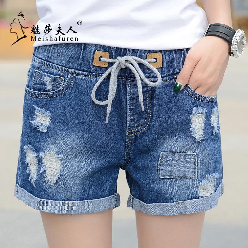 New Fashion 2020 Spring And Summer Casual Mid-Waist Shorts Women Denim Shorts Elastic Waist Jeans Flanging Hot Shorts Feet K3C
