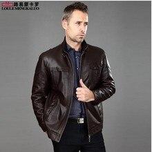 Free shipping ! Quinquagenarian men's casual sheepskin jacket stand collar slim Plus velvet genuine leather clothing / M-XXL