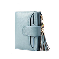 Hot Sale Women S Genuine Leather Diamond Tassel Zipper Purse Coin Pocket Female Clutch Card Holder