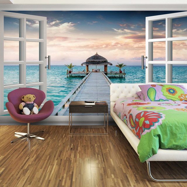 3d Three Dimensional Wallpaper Bedroom Wall Wallpaper Romantic Mural Blank  Window